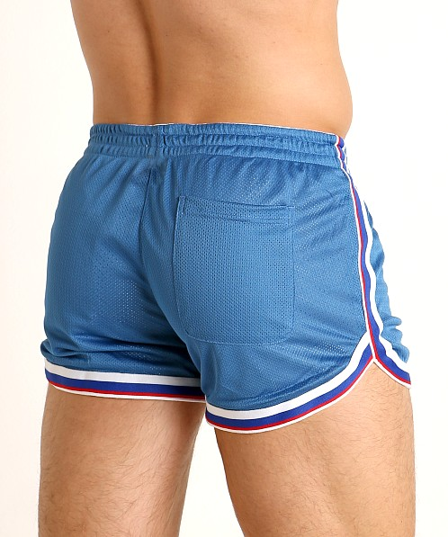Cell Block 13 Crossover Mesh Reversible Short White/Blue
