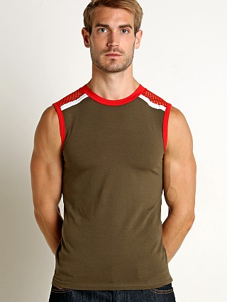 Complete the look: Modus Vivendi Multi C-Through Mesh Muscle Shirt Khaki/Red