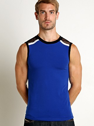 Complete the look: Modus Vivendi Multi C-Through Mesh Muscle Shirt Blue/Black