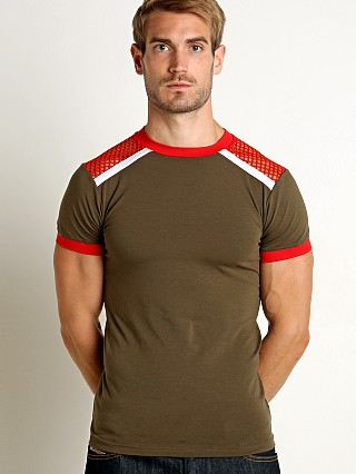 Modus Vivendi Multi C-Through Mesh T-Shirt Khaki/Red