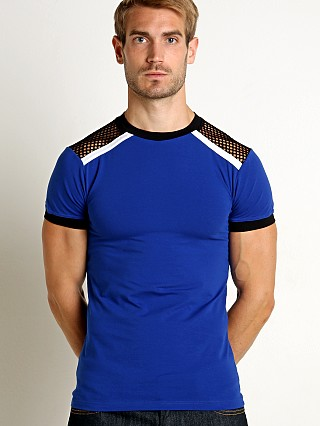 Modus Vivendi Multi C-Through Mesh T-Shirt Blue/Black