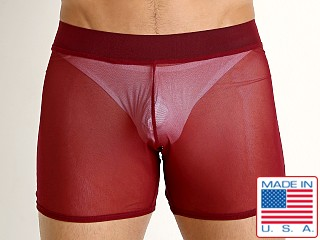 Model in burgundy Go Softwear Hard Core Grid Mesh Short