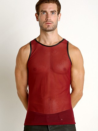 Complete the look: Go Softwear Hard Core Grid Mesh Tank Top Burgundy