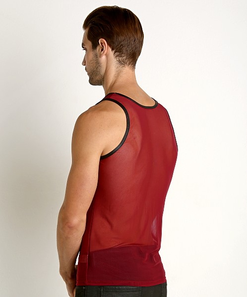 Go Softwear Hard Core Grid Mesh Tank Top Burgundy