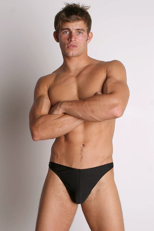 PB Nylon Lycra Thong Black