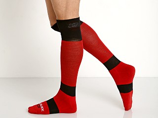 Cell Block 13 Roll Over Knee Socks Red