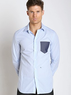 Diesel S-Neils Yarn Dyed Striped Cotton Shirt Sky Blue