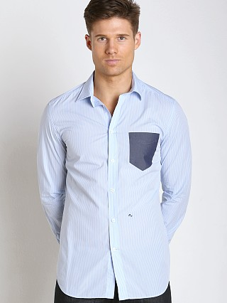 Complete the look: Diesel S-Neils Yarn Dyed Striped Cotton Shirt Sky Blue
