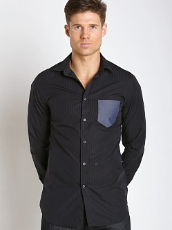 Diesel S-Neils Yarn Dyed Striped Cotton Shirt Black