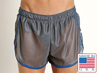 American Jock Featherweight Sheer Mesh Track Short Grey/Royal