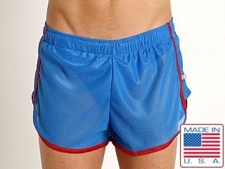 American Jock Featherweight Sheer Mesh Track Short Royal/Red