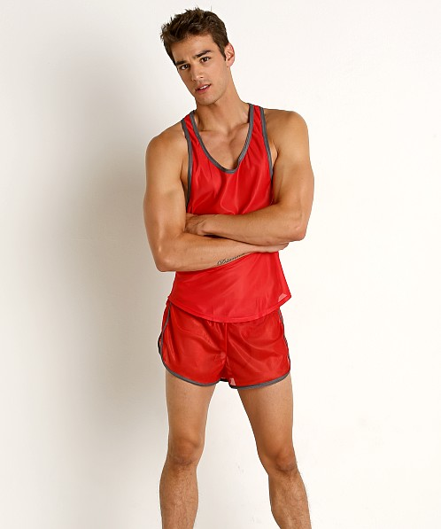 American Jock Featherweight Sheer Mesh Tank Top Red/Grey