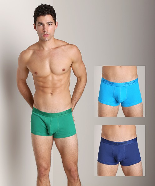 2xist 3-Pack No-Show Trunks Green/Turq/Blue