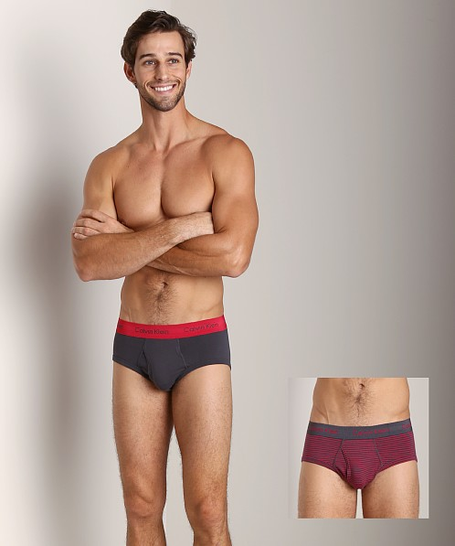 Calvin Klein Cotton Stretch 2 Pack Hip Brief Ash & Red