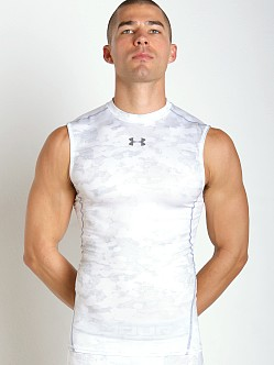 Under Armour Heatgear Sleeveless Printed Compression Tee White
