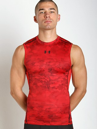 Under Armour Heatgear Sleeveless Printed Compression Tee Red