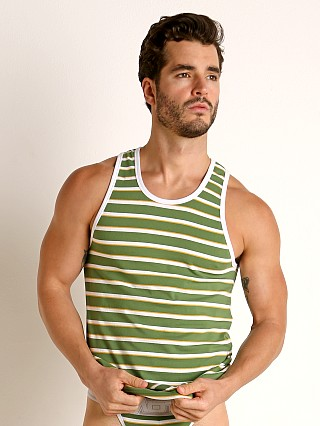 Model in green Timoteo California Cool Tank Top