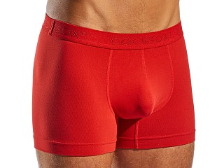 Model in red CockSox Contour Supplex Pouch Boxer