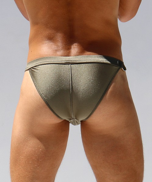 Rufskin DD Buckle Shiny Stretch Nylon Euro-Cut Swim Briefs Olive