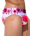 Rufskin Cassady Summer of Love Sunga Swim Brief Tie Dye Reds, view 3