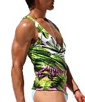 Rufskin Tropic Sublimated Stretch Cross V-Neck Tank Top Print, view 2