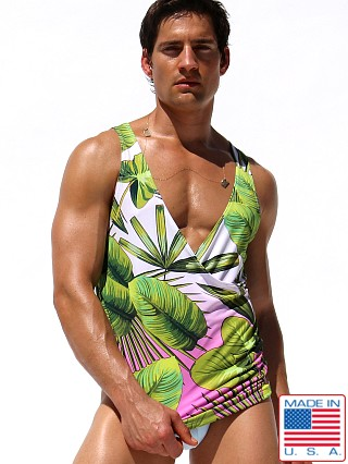 Model in print Rufskin Tropic Sublimated Stretch Cross V-Neck Tank Top