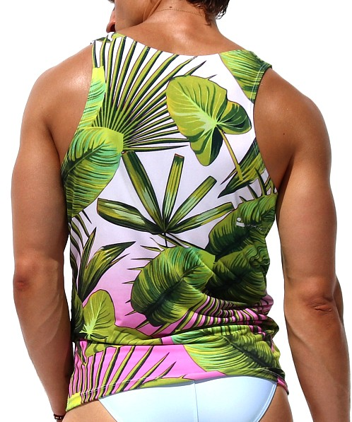 Rufskin Tropic Sublimated Stretch Cross V-Neck Tank Top Print