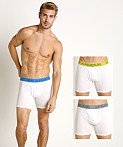 "Under Armour Cotton Stretch 6"" Boxerjock 3-Pack Whites, view 1"