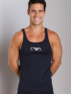 Emporio Armani Pima Rib Stretch Cotton Tank Top Marine