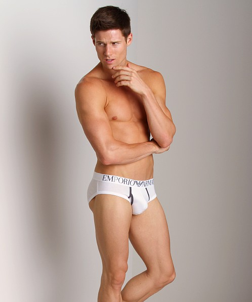 Emporio Armani Contrast Stretch Cotton Brief White