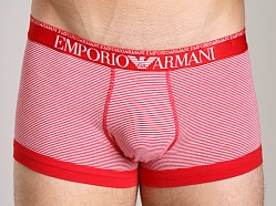 Emporio Armani Yarn Dyed Stretch Cotton Trunk White/Red