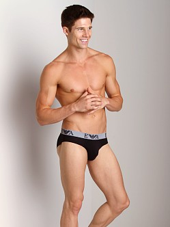 Emporio Armani Embossed Stretch Cotton Brief Black