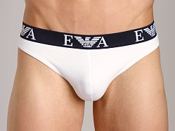 Emporio Armani Embossed Stretch Cotton Thong White