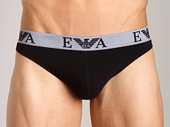 Emporio Armani Embossed Stretch Cotton Thong Black