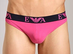 Emporio Armani Embossed Stretch Cotton Thong Fuxia Pink