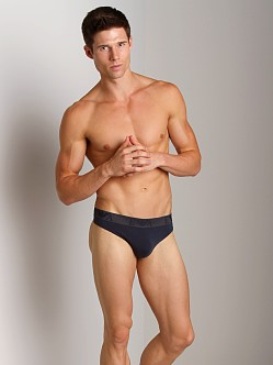 Emporio Armani Embossed Stretch Cotton Thong Marine