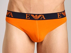 Emporio Armani Embossed Stretch Cotton Thong Orange