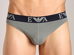 Emporio Armani Embossed Stretch Cotton Thong Sage