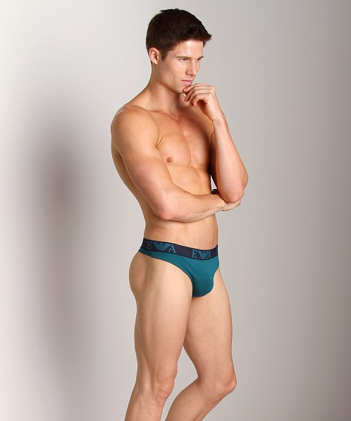 Emporio Armani Embossed Stretch Cotton Thong Peacock