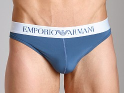 Emporio Armani Basic Stretch Microfiber Thong Smokey Blue