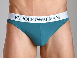 Emporio Armani Basic Stretch Microfiber Thong Peacock