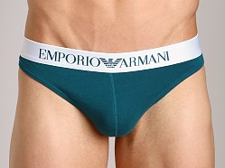Emporio Armani Basic Stretch Cotton Thong Peacock