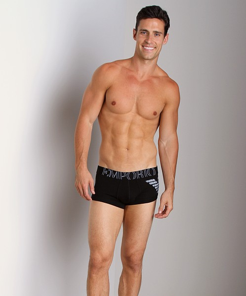 Emporio Armani Big Logo Vintage Stretch Cotton Trunk Black