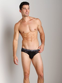 Emporio Armani Jersey Mesh Stretch Cotton Brief Black