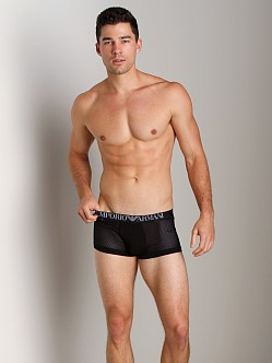 Emporio Armani Jersey Mesh Stretch Cotton Trunk Black