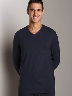 Hugo Boss Cotton Stretch Long Sleeve V-Neck Shirt Navy