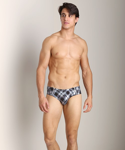 Pistol Pete Platinum Two-Zip Brief Silver/Black
