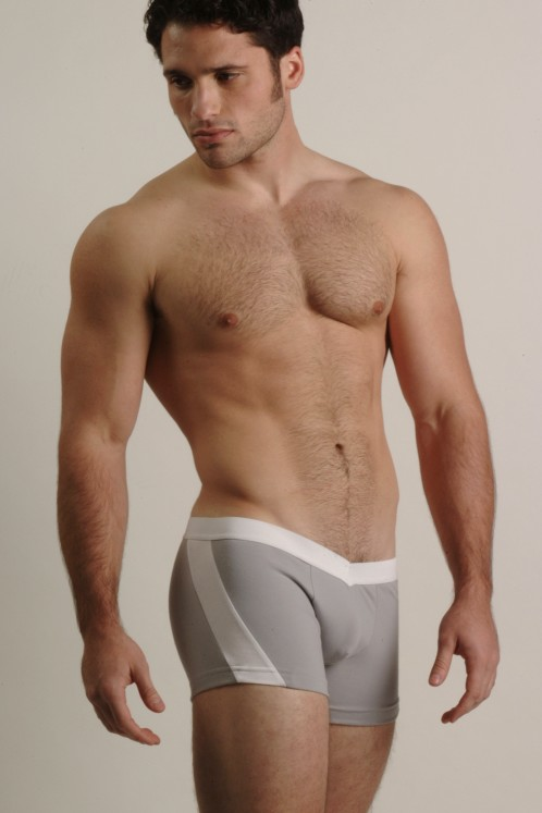 Go Softwear Grey and White V-Front Slash Boxers