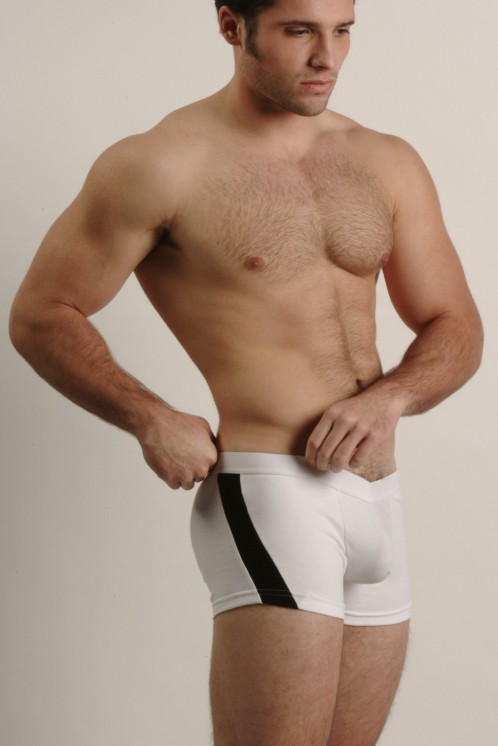 Go Softwear White and Black V-Front Slash Boxers