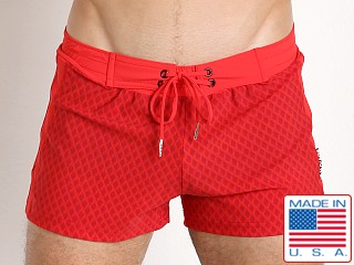 Sauvage Italian Diamond Swim Trunk Red